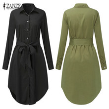 8cb36dac158 Spring Long Sleeve Blouse Shirt Dress With Belt Women Oversized Midi Dress  Retro Tunic Casual Office