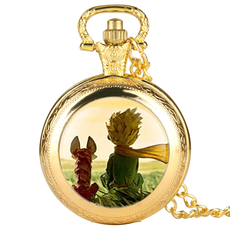 Popular The Little Prince Movie Theme Quartz Pocket Watch Necklace Fob Clock With Chain Necklace Pendant Gift For Children Boys