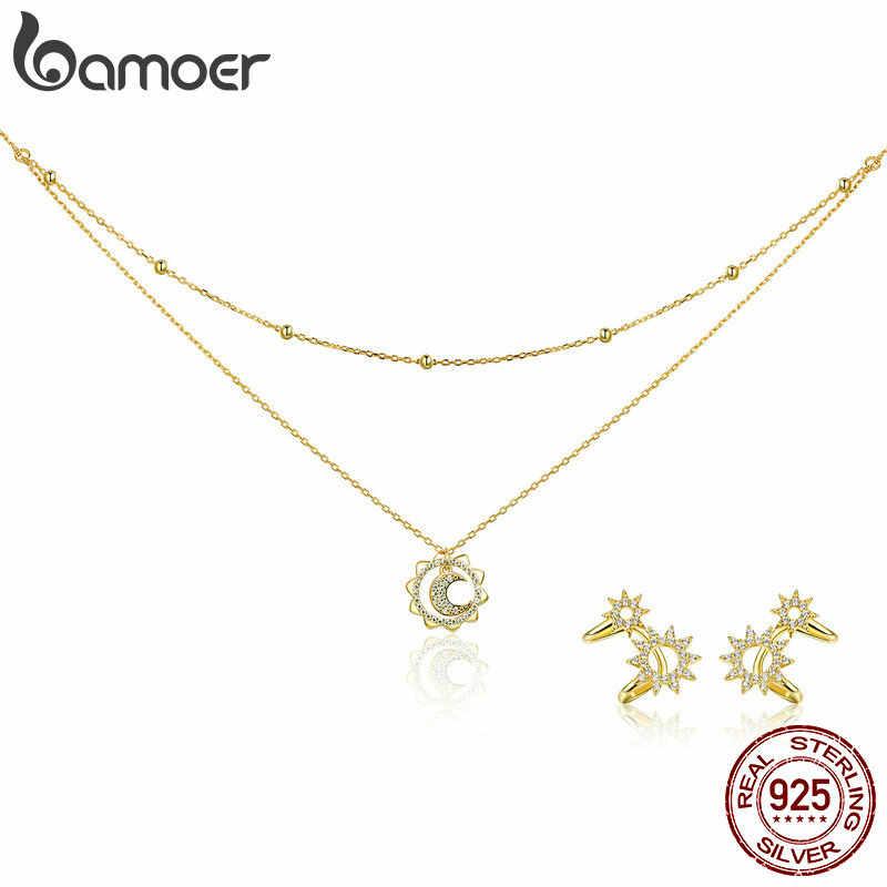 BAMOER אותנטי 925 כסף סטרלינג סאני צורה גיאומטרית שרשראות תליון & עגילי תכשיטי סט תכשיטים ביצוע מתנות