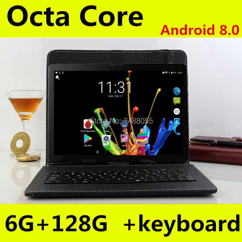 اللوحي 10 بوصة WiFi الثماني النواة 6 GB RAM 64 GB 128 GB ROM 1280X800 IPS شاشة المزدوج سيم بطاقات الروبوت 8.0 جوجل 3G 4G FDD LTE اللوحي