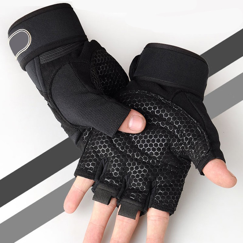 Fitness Gloves Half Finger Men And Women Breathable Non-slip Summer Cross-country Weightlifting Hand Dumbbell Equipment body building sports cyling half finger gloves for women black red