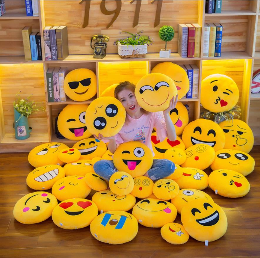 SlowDream Cute Emoji Round Cushion Smiley Face Stuffed By Toy Soft Plush Expressions Sofa Bed Throw 32cmx32cm Size Nap Pillow 41