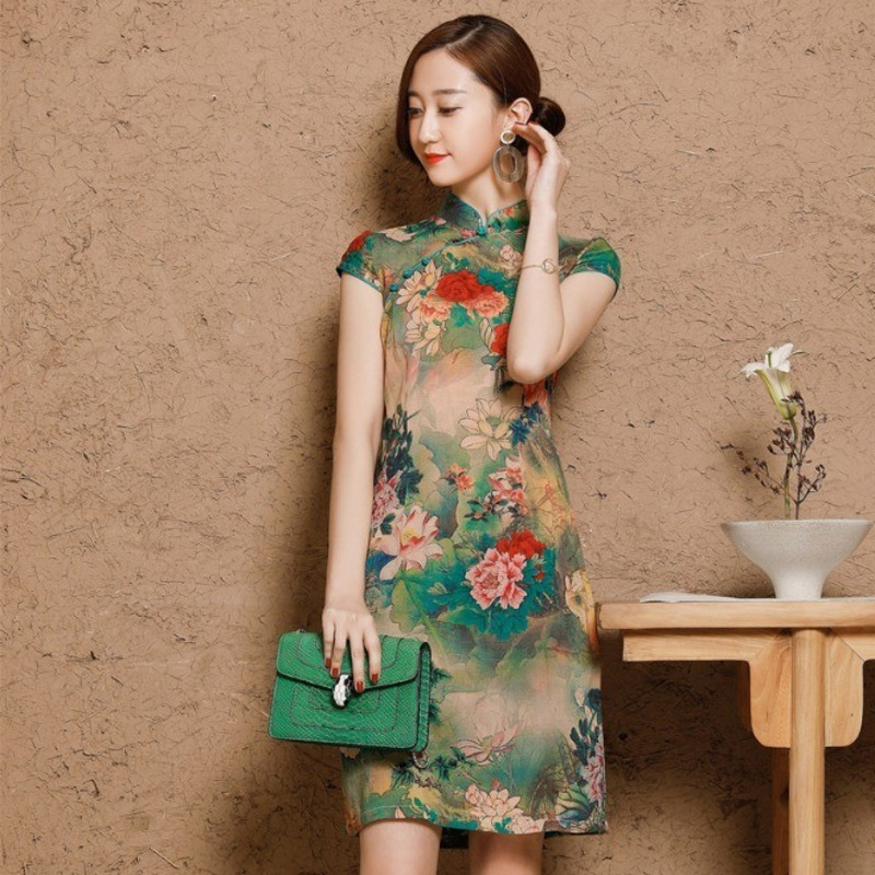 5XL Women's Cotton Oriental Style Dresses Printing Elastic Qipao New Short Cheongsam Restore Ancient Traditional Chinese Dress-in Cheongsams from Novelty & Special Use