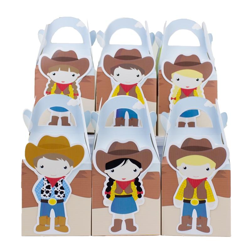 Cowboy och Cowgirl Favoritlåda Candy Box Presentförpackning Cupcake Box Boy Kids Födelsedagsfesttillbehör Dekoration Party Supplies