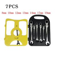 7pcs/set Metric Ratchet Wrench CRV Steel 8 19 mm Quick Offset Spanner Kit Wear resistance Ratchet Handle Wrench Hand repair Tool