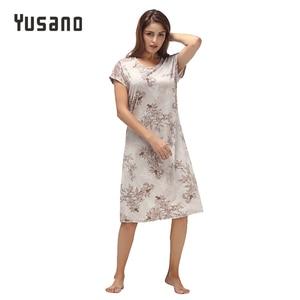 Image 1 - Yusano Women Nightgown ผ้าฝ้าย Nighty ลูกไม้ชุดนอน Nightdress แขนสั้น O Neck Homeweara เสื้อผ้า Flora พิมพ์ Sleep ชุด