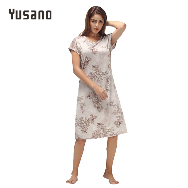 Yusano Women Nightgown ผ้าฝ้าย Nighty ลูกไม้ชุดนอน Nightdress แขนสั้น O Neck Homeweara เสื้อผ้า Flora พิมพ์ Sleep ชุด