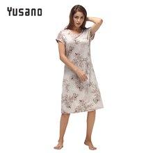 Yusano mujer Camisón de algodón camisón manga corta cuello redondo Homeweara ropa estampado de flores Sleep Dress