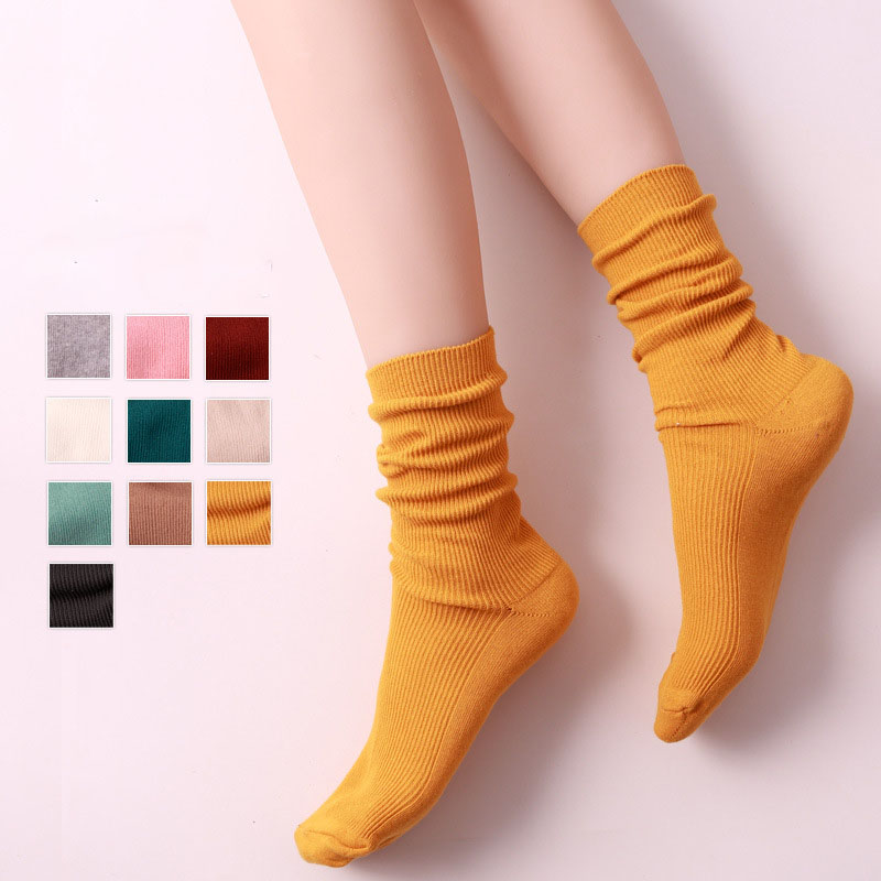 Hot Sale Artsy Purple Blue Pure Cotton Women Crew   Socks   Fashion Solid Candy Color   Socks   Spring Autumn High Quality Long   Socks