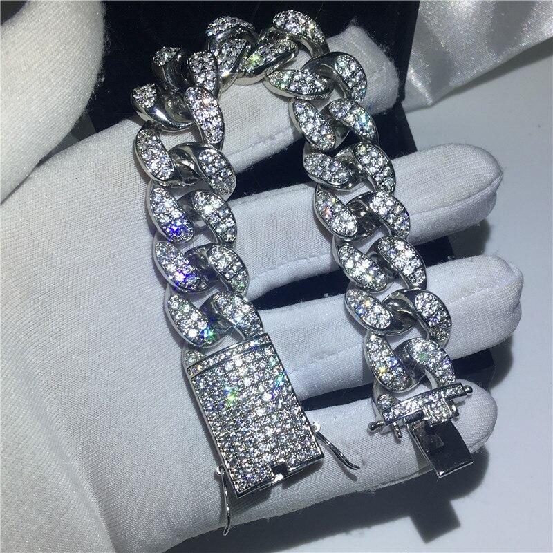 Handmame mâle grand Hiphop chaîne bracelet pavé réglage AAAAA Cz or blanc rempli fête anniversaire Bracelets pour hommes bijoux de roche