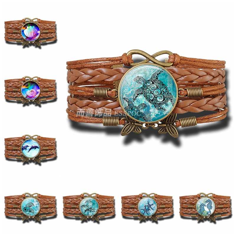 Sea Turtle Dolphin Seashells Multilayer Braided Leather Bracelet Glass Dome Pendant Fashion Jewelry Accessories Souvenir Gift