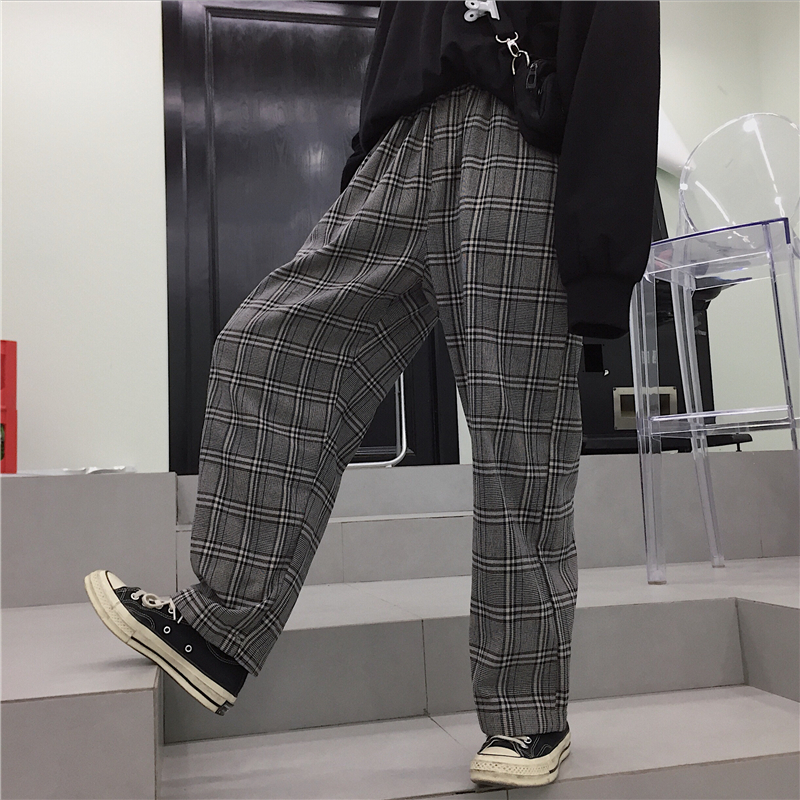 2019 New Spring Women   Pants   Loose Hipster BF Harajuku Vintage Plaid Chic Ankle-Length Wide Leg   Pants   Korea Ulzzang Casual   Capris