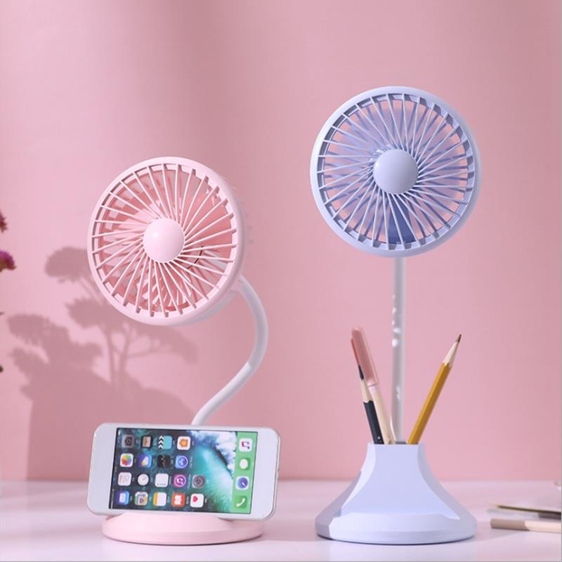 Usb Rechargeable Desktop Desk Lamp Fan Student Learning Multi-Function Pen Holder Table Lamp Fan For Home Office Best Gift