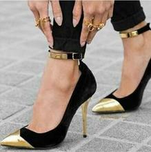 Sexy Gold Pointed Toe Pumps Women Shoes Metal Decoration Ankle Strap High Heels Cut-out Lady Dress Real Photo