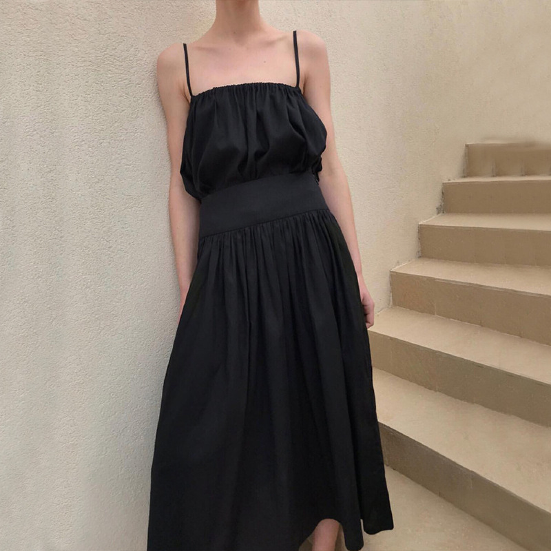 Tencel cotton blended high waist casual fashion black simple pleated skirt long and thin pleated skirt women