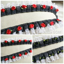 5CM Wide Tulle Luxury Black Guipure Pleated Chiffon Lace Fabric 3D Flowers Applique Embroidery Ribbon Princess Clothing Sewing