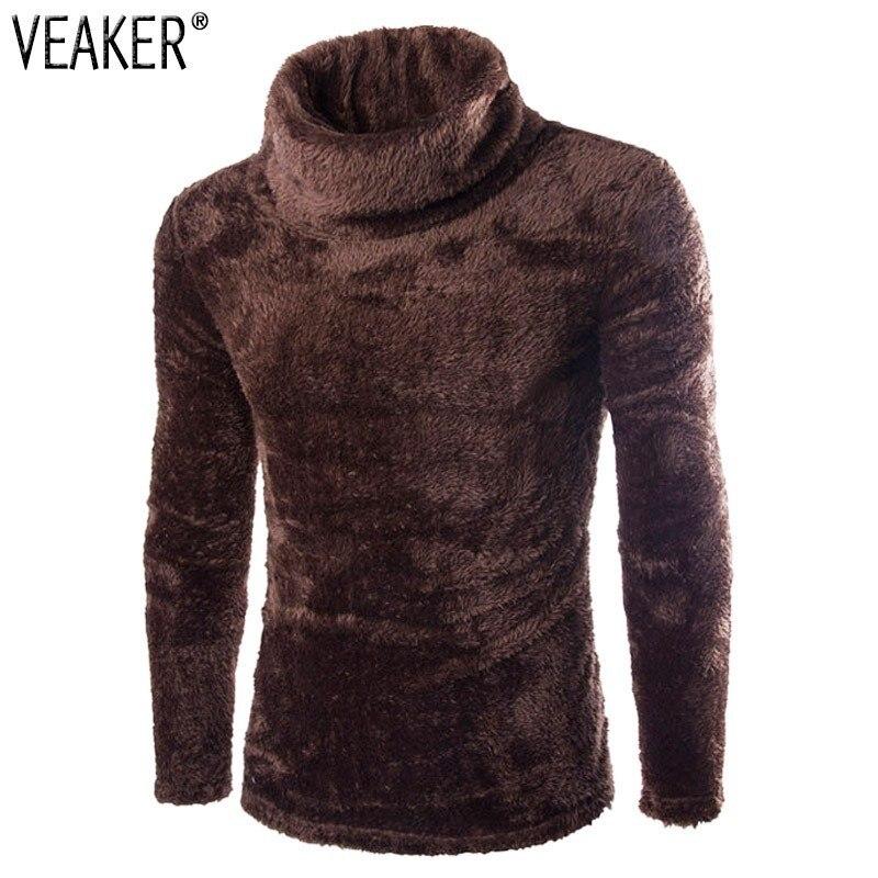 2019 Autumn Winter Men's Velvet Fleece T Shirts Solid Color Turtleneck Warm Soft Long Sleeve T Shirt Slim Fit  Fleece T Shirts