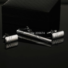 CT-010B French Shirt Laser Engraving Men Jewelry Unique Wedding Groom Tie Clips&CuffLinks Business Silver Cufflink For Mens
