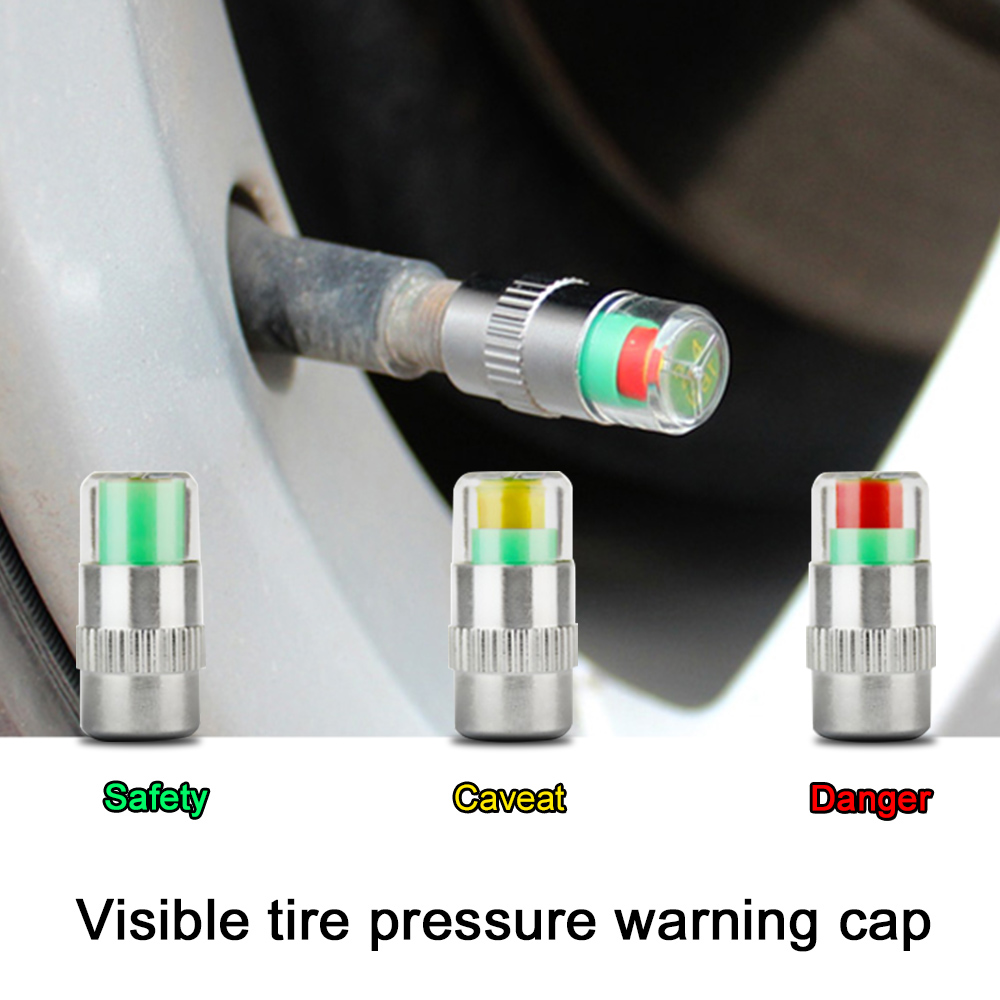 4PCS Car Auto Tire Pressure Monitor Gage Alert Sensor Indicator Valve Caps Wheel Tires Valves Tyre Stem Air Caps Airtight Cover