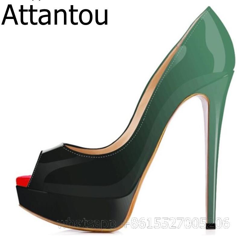 Mixed Color Green black Women Red Peep Toe Thin High Heel Platform Pumps Party Dress Shoes