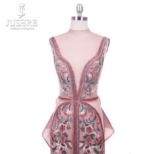 Image 4 - 2018 Jusere Midden oosten Cameo Bruin Top See Through Geborduurde Geappliceerd Avondjurken Split Side Floor Length Prom Gown