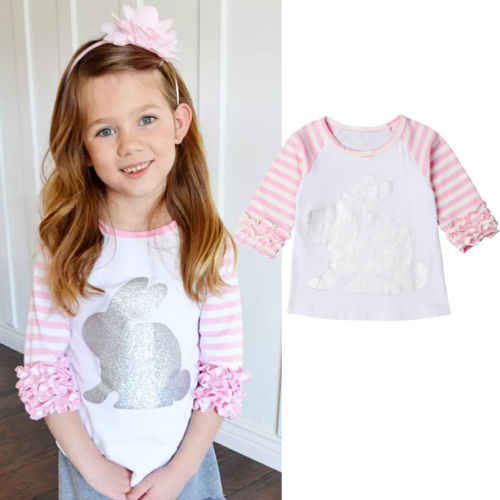 Baby Girl Kids T-Shirt Printed Rabbit Bunny Party Top Pink Shirt Tee Blouse