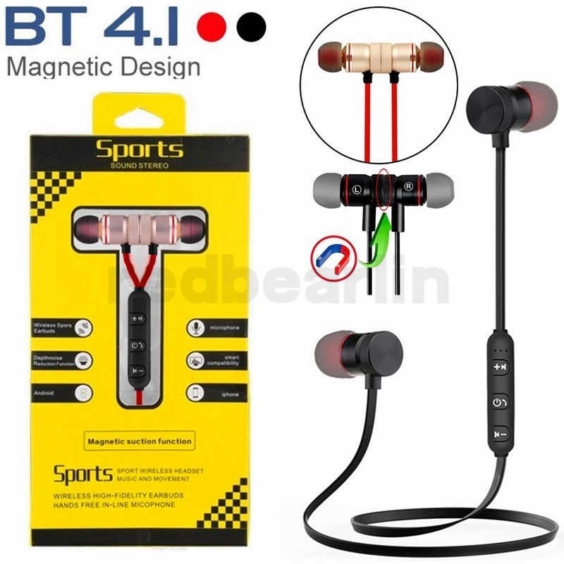 Magnetic Wireless Bluetooth Earphone Handfree Earphone Bt4 1 Stereo Sports In Ear Music Earset With Microphone For Iphone 7 8x S Aliexpress