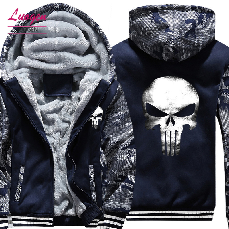 USA SIZE 2018 New Punisher Men's Hoodies Sweatshirts Skulls Printed Thicken Fleece Zipper Hoody Coats Male Jackets Plus size