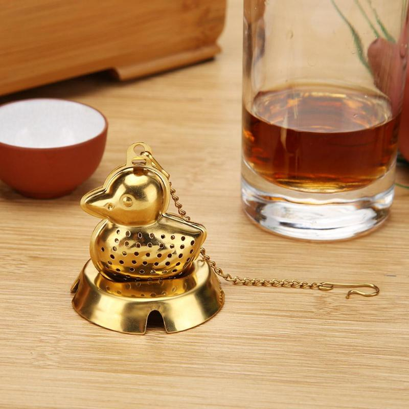 Stainless Steel Teapot Tea Strainer Duck Shape Mesh Tea Infuser Filter Reusable Tea Bag Spice Tea Tool Accessories