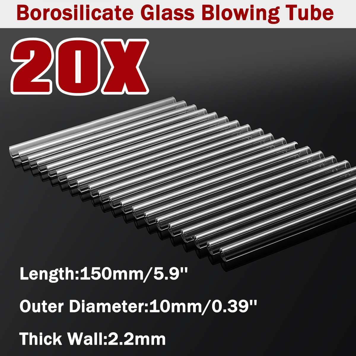 20Pcs 150x10x2.2mm Borosilicate Clear Glass Test Tube Blowing Tubing Blow Wall Transparent School Lab Chemical Experiment Tools
