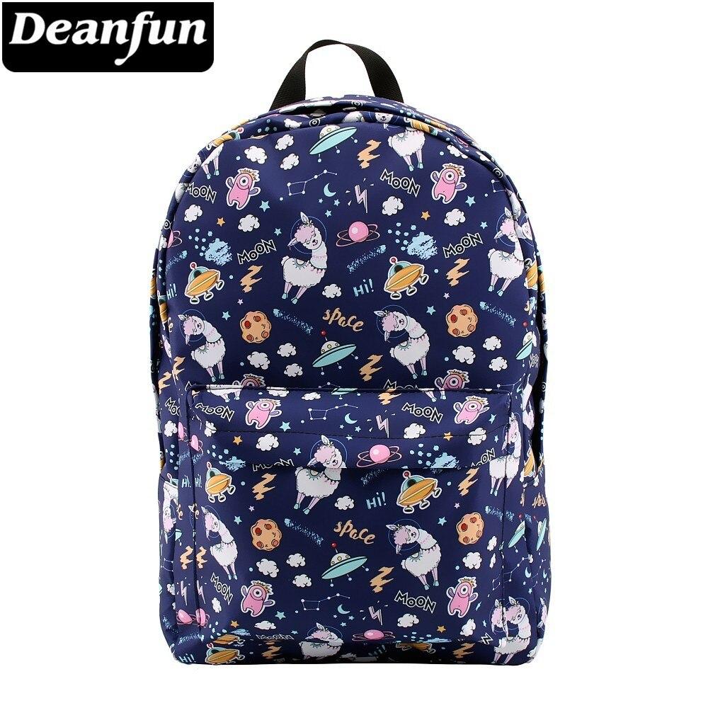 Cartoon Humorous Alpaca Llama Girls Backpacks Girls College Bags Fashion Traveling Bags Print Zipper Students Unisex Adult Teens Gift