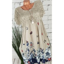 Plus Size 2019 New Lace Hollow Out A-Line Dress Women Short Sleeve Floral Print Dresses Large Size Empire Dress все цены
