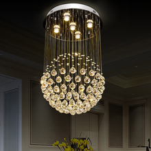 Round Shape Lamp Luxury modern Crystal Chandelier Light Lustres Hall Cristal Home Lighting crystal raindrop chandelier