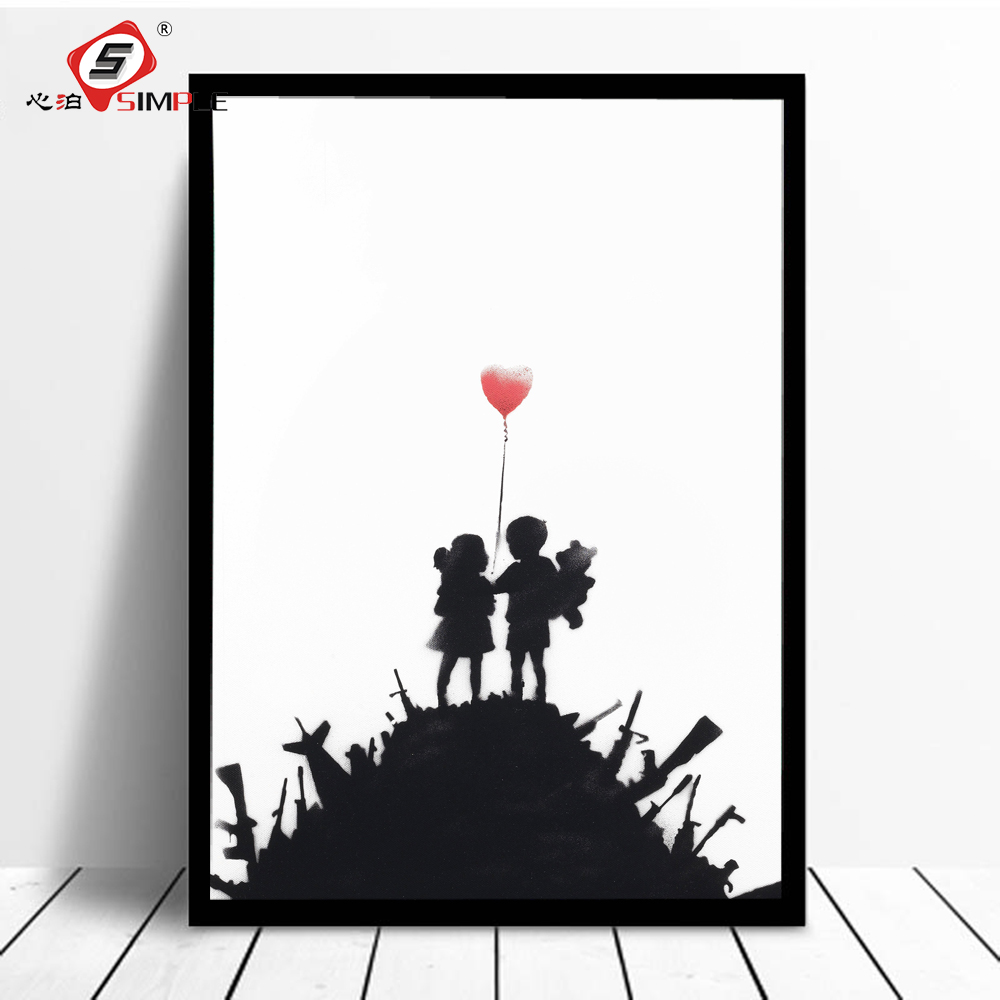 Simple The A Balloon Heart Poster Banksy Graffiti Style Picture Street Art Poster Sword Mountain Decor for Home Unframed rustica mini noce slate 12 in x 12 in x 8 mm porcelain mosaic tile backsplash images
