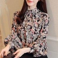 Модные женские блузки весна 2019 принт шифоновая блузка рубашка с длинным рукавом Женские рубашки женские s Топы и блузки женские топы blusas