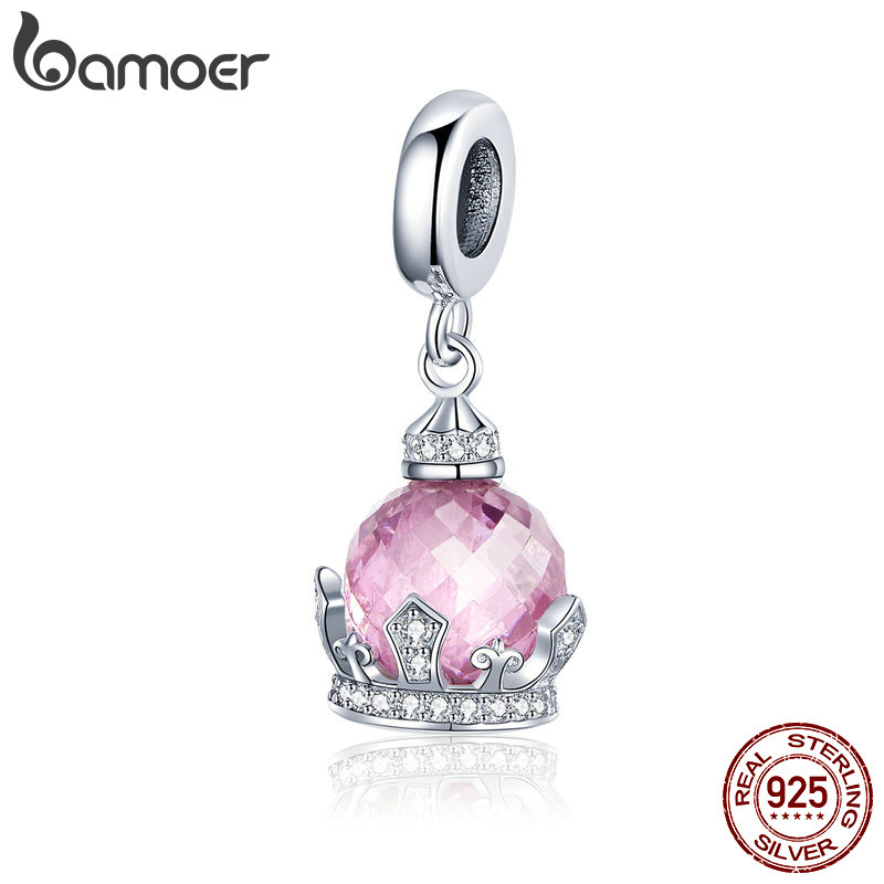 BAMOER Romantic 925 Sterling Silver Princess Crown Pendant Charms Fit Bracelets Necklaces Luxury Jewelry Girlfriend Gift SCC1132