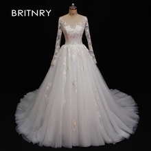 BRITNRY 2019 Ball Gown Wedding Dresses Long Sleeve Gowns