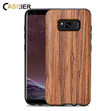 CASEIER Retro Wooden Case For Samsung Galaxy S10 S8 Plus S10E Lite Coque Wood Cases Bag Leather Fundas Cover