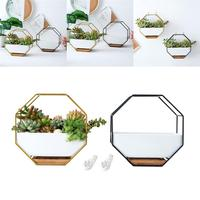 1PC Octagonal Geometric Metal Poratble Geometric Planter Pot Storage Rack for Restaurant Hotel Home Office Decoration Gifts