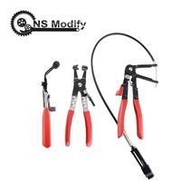 NS Modify 3Pcs Auto/Car Repairs Hand Tools Bent Nose Hose Clamp Pliers Cable Type Flexible Wire Long Reach Hose Clip Pliers