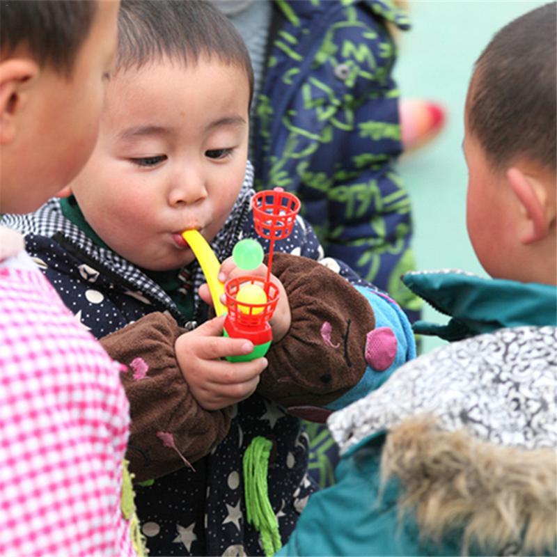 Plastic Floating Children Blow Balls Tube Toy Plastic Suspension Blower Pipe Blowing Suspension Ball Kids Gift