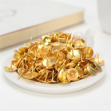 100pcs/box Creative Gold Color Metal Thumb Tack Bulletin Board Message Paper Fixed Push Needle Pins Office Binding Supplies