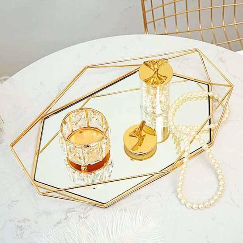 Europeu Do Vintage Colorido De Metal De Vidro Bandeja de Armazenamento Prato de Frutas de Ouro Oval Pontilhada Desktop Pequenos Itens de Jóias Bandeja de Exibição Espelho