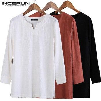 Camisas para hombre, traje, vestido liso de manga larga para otoño y primavera, camisetas para hombre, ropa para hombre, Camisa, Túnica musulmana india Kurta