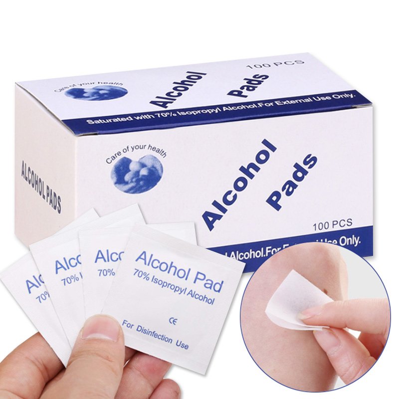 New 100pcs Disposable Alcohol Cotton Cleaning Tablets Wound Sterilization Disinfection Wipes Portable Health Care Tools