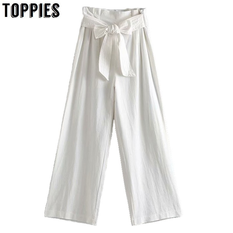 Leisure White Linen   Pants   Bow Waist   Wide     Leg     Pants   Summer High Waist Loose Trousers 2019 Fashion Women