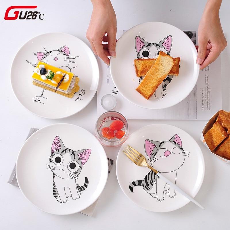 Dessin animé chat en céramique assiette créative Cuisine plat mignon blanc plaque Steak riz soupe os chine vaisselle cadeau céramica plat