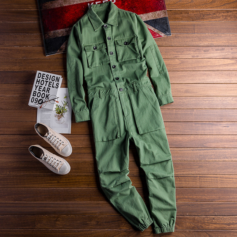 Mens Jean Bib Overalls Hip Hop Cowboy Jumpsuits With Multi Pockets Workwear Coveralls Suspender Pants For Male A9211
