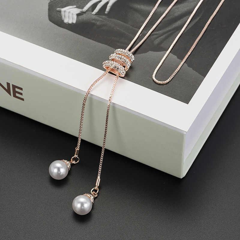 Le donne Simulato di Perle di Cristallo Catena Lunga Del Maglione Circles Collana Vintage Accessary Collares Dichiarazione Pendenti con gemme e perle di Gioielli Alla Moda