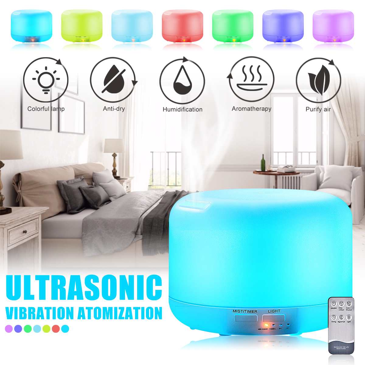 300ml Aromatherapy Humidifier Aroma LED Oil Diffuser Remote Control Air  Purifier EU Plug 12W for Home Yoga Office 36dB 7 Colors